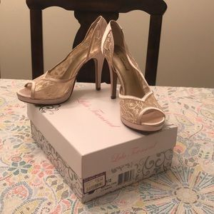 Neutral Lace Peep Toe Heels